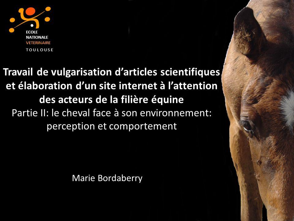 Travail de vulgarisation darticles scientifiques et élaboration dun site internet à lattention des acteurs de la filière équine Partie II: le cheval f