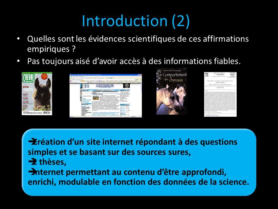 Quelles sont les évidences scientifiques de ces affirmations empiriques ? Pas toujours aisé davoir accès à des informations fiables. Introduction (2)