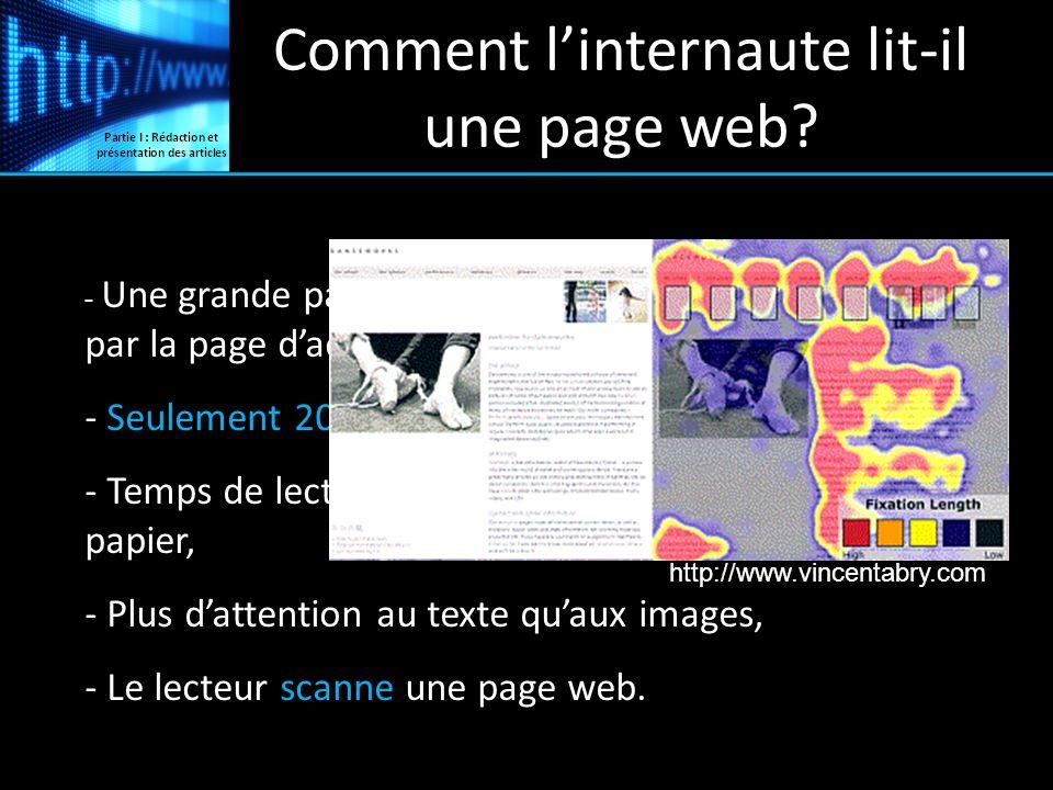 Comment linternaute lit-il une page web? - Une grande partie des internautes narrive pas par la page daccueil, - Seulement 20 % du texte est lu, - Tem