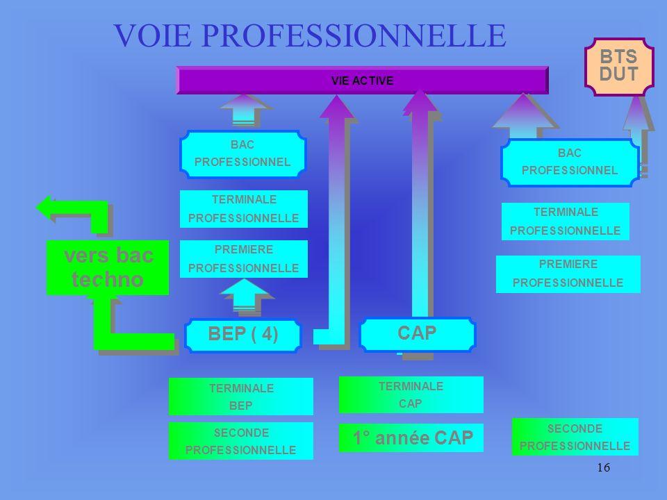 15 SECONDE GENERALE ET TECHNOLOGIQUE SECONDE PRO 1e année CAP PREMIERE GENERALE PREMIERE TECHNOLOGIQUE TERMINALE BEP CAP BEP ( 4) CAP PREMIERE PROFESSIONNELLE TERMINALE GENERALE TERMINALE TECHNOLOGIQUE CYCLE TERMINAL TERMINALE PROFESSIONNELLE BAC PROFESSIONNEL BAC GENERAL CYCLE DE DETERMINATION VIE ACTIVE ETUDES SUPERIEURES BAC TECHNOLOGIQUE LES PARCOURS SCOLAIRES retour SECONDE PROFESSIONNELLE