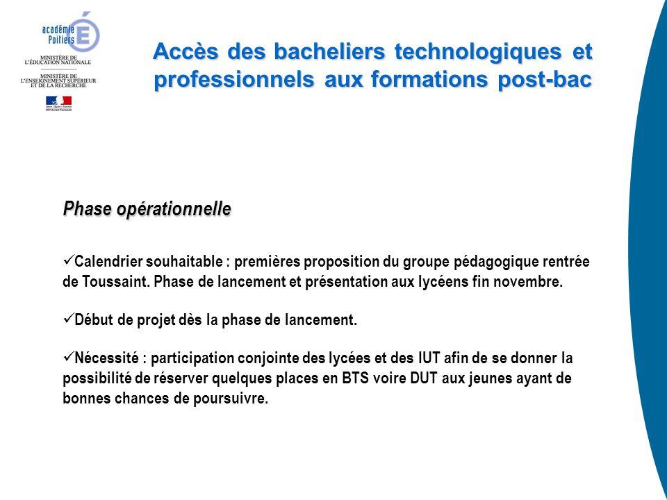 Accès des bacheliers technologiques et professionnels aux formations post-bac Phase opérationnelle Calendrier souhaitable : premières proposition du groupe pédagogique rentrée de Toussaint.
