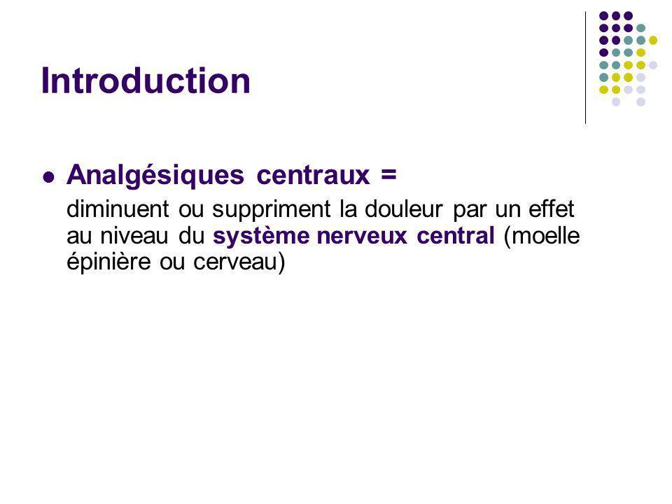 Introduction Analgésiques centraux = diminuent ou suppriment la douleur par un effet au niveau du système nerveux central (moelle épinière ou cerveau)