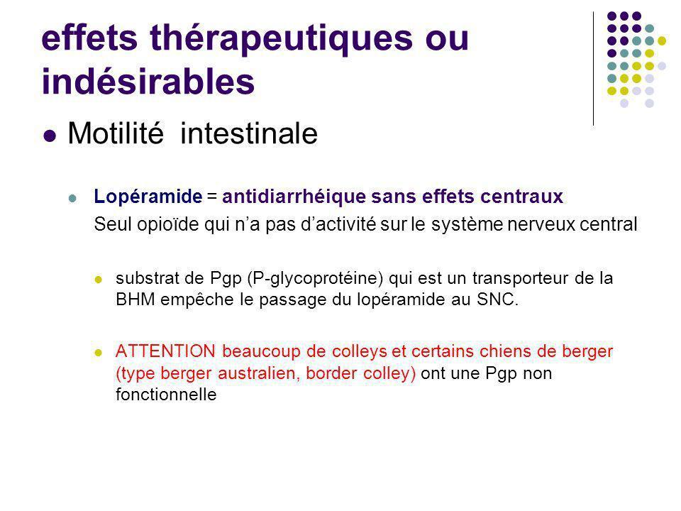 Motilité intestinale Lopéramide = antidiarrhéique sans effets centraux Seul opioïde qui na pas dactivité sur le système nerveux central substrat de Pg