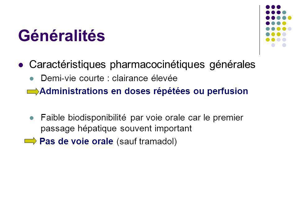 Généralités Caractéristiques pharmacocinétiques générales Demi-vie courte : clairance élevée Administrations en doses répétées ou perfusion Faible bio