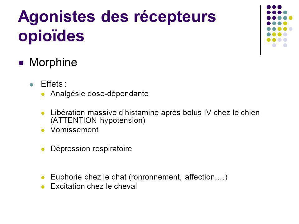 Agonistes des récepteurs opioïdes Morphine Effets : Analgésie dose-dépendante Libération massive dhistamine après bolus IV chez le chien (ATTENTION hy