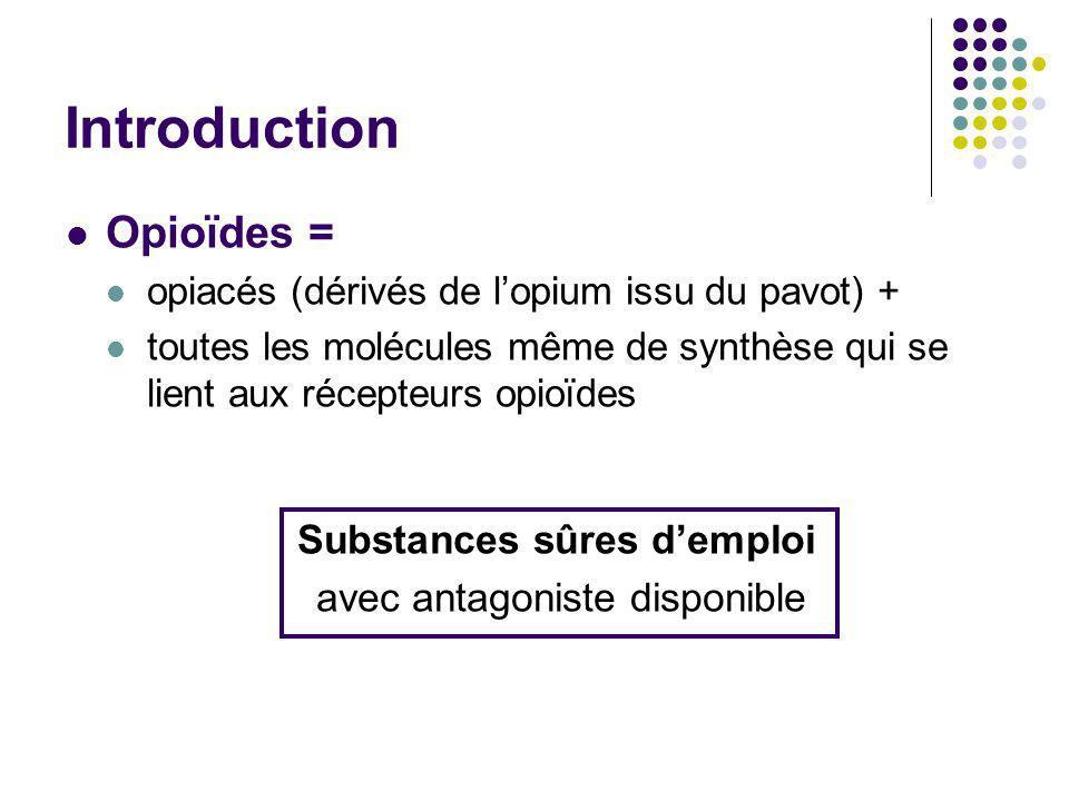 Introduction Opioïdes = opiacés (dérivés de lopium issu du pavot) + toutes les molécules même de synthèse qui se lient aux récepteurs opioïdes Substan