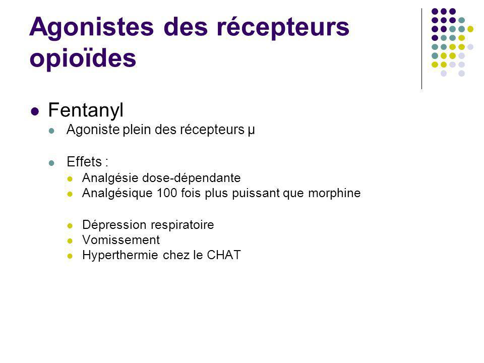 Agonistes des récepteurs opioïdes Fentanyl Agoniste plein des récepteurs μ Effets : Analgésie dose-dépendante Analgésique 100 fois plus puissant que m