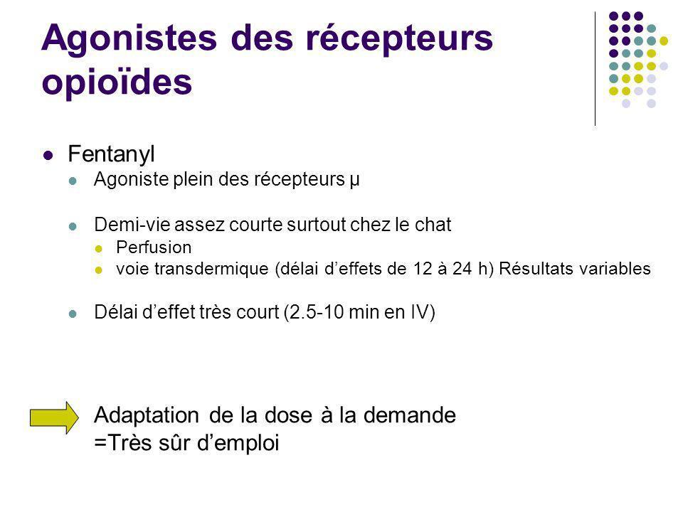 Agonistes des récepteurs opioïdes Fentanyl Agoniste plein des récepteurs μ Demi-vie assez courte surtout chez le chat Perfusion voie transdermique (dé