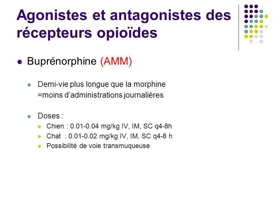 Agonistes et antagonistes des récepteurs opioïdes Buprénorphine (AMM) Demi-vie plus longue que la morphine =moins dadministrations journalières Doses