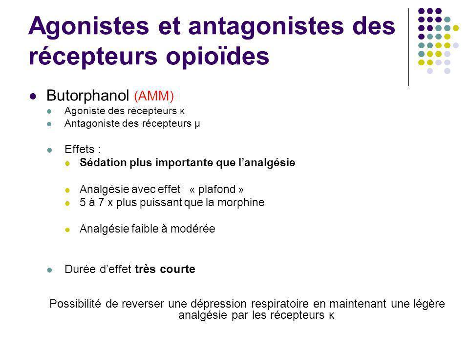 Agonistes et antagonistes des récepteurs opioïdes Butorphanol (AMM) Agoniste des récepteurs κ Antagoniste des récepteurs μ Effets : Sédation plus impo