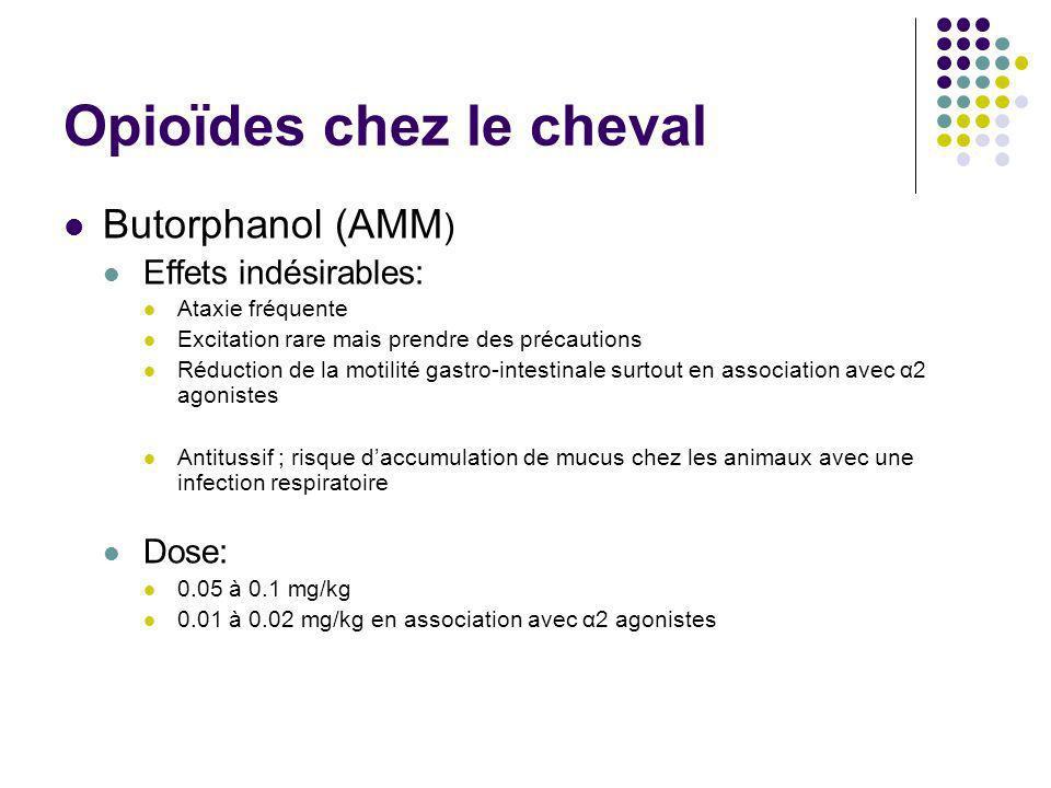Opioïdes chez le cheval Butorphanol (AMM ) Effets indésirables: Ataxie fréquente Excitation rare mais prendre des précautions Réduction de la motilité