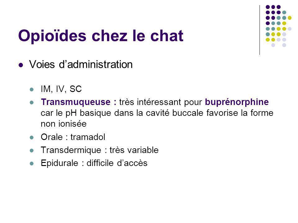 Opioïdes chez le chat Voies dadministration IM, IV, SC Transmuqueuse : très intéressant pour buprénorphine car le pH basique dans la cavité buccale fa