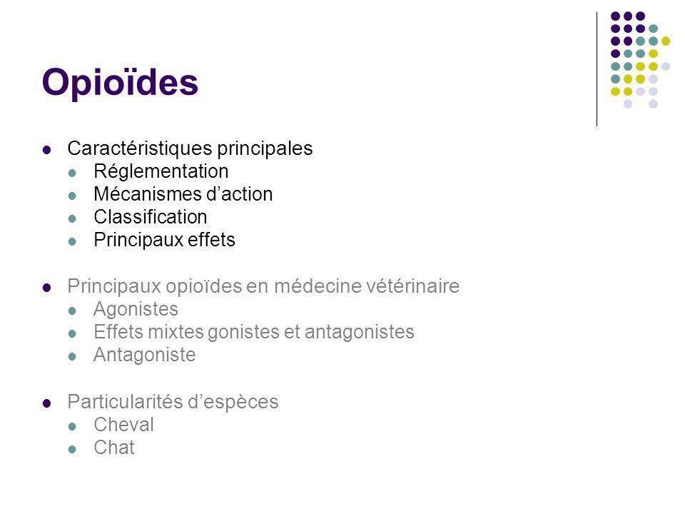 Opioïdes Caractéristiques principales Réglementation Mécanismes daction Classification Principaux effets Principaux opioïdes en médecine vétérinaire A