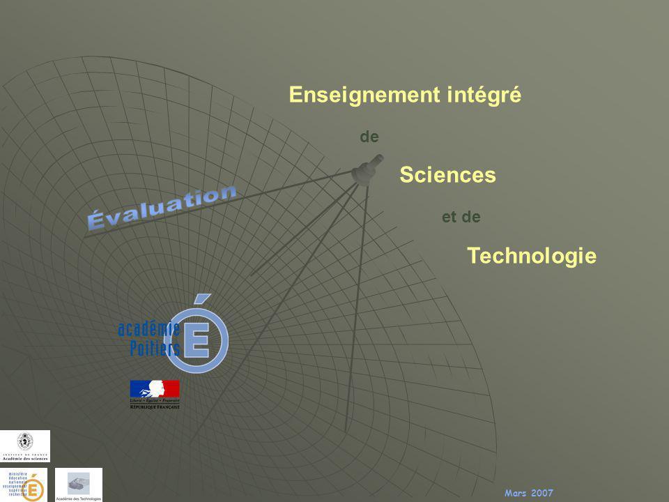 Enseignement intégré de Sciences et de Technologie Mars 2007