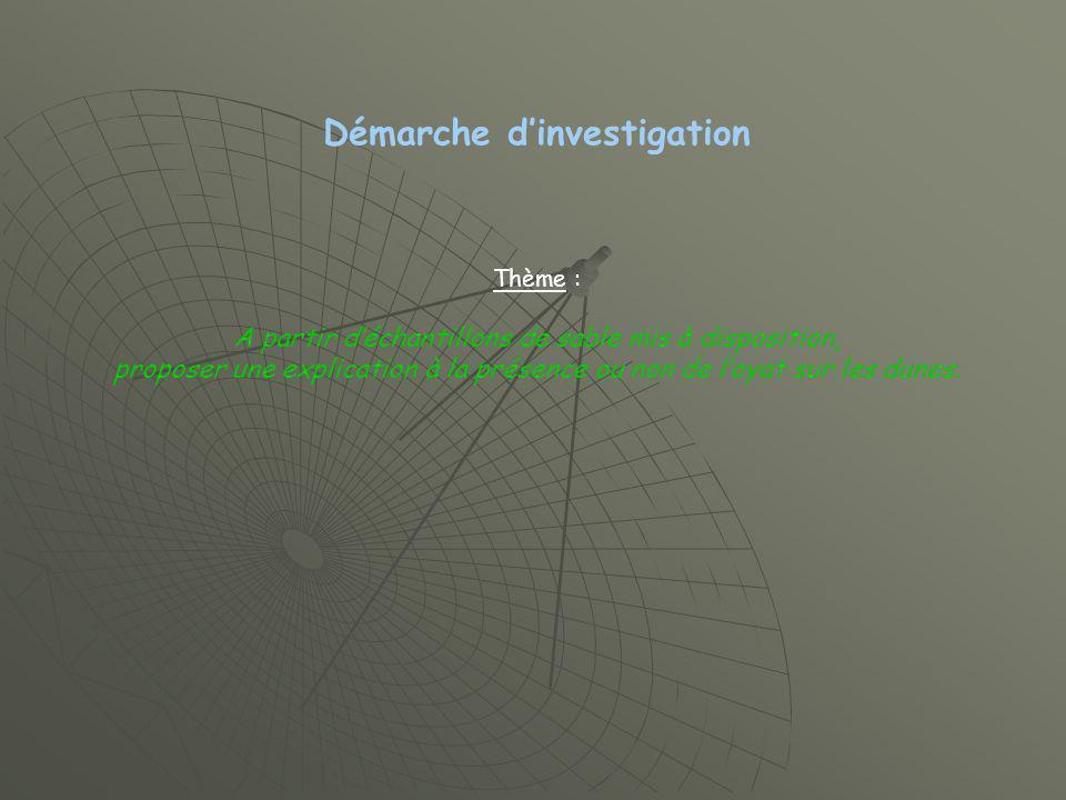 Démarche dinvestigation Thème : A partir déchantillons de sable mis à disposition, proposer une explication à la présence ou non de loyat sur les dunes.