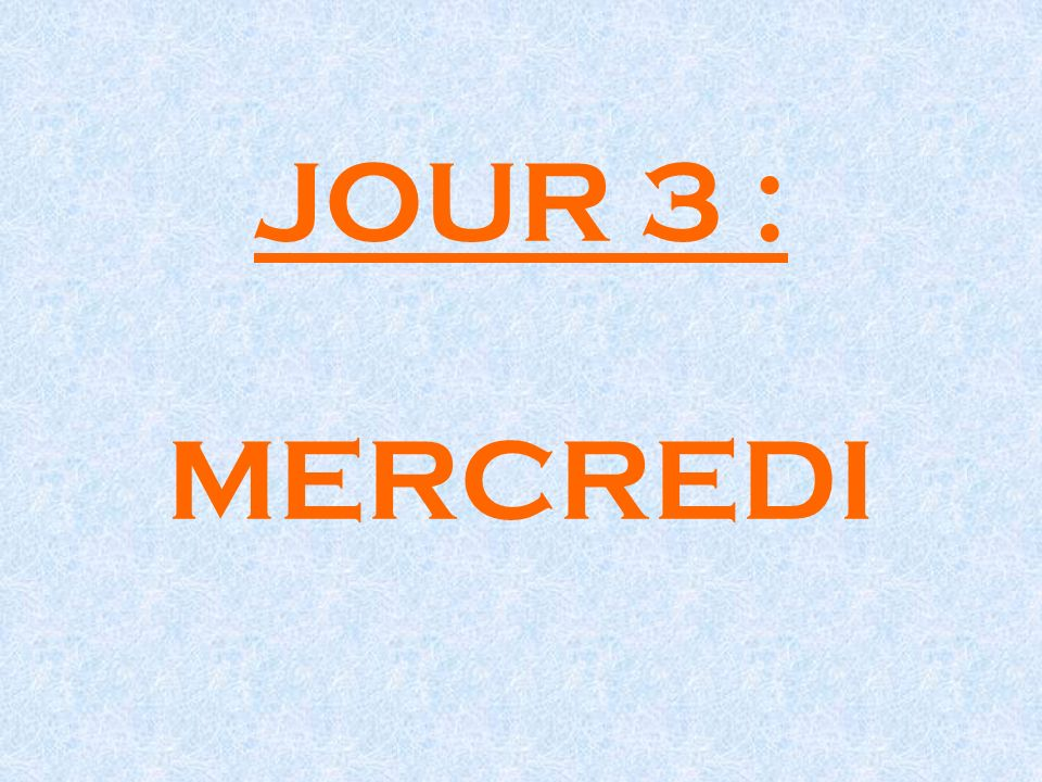 JOUR 3 : MERCREDI