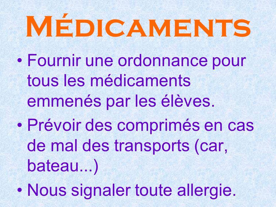 Médicaments Fournir une ordonnance pour tous les médicaments emmenés par les élèves. Prévoir des comprimés en cas de mal des transports (car, bateau..