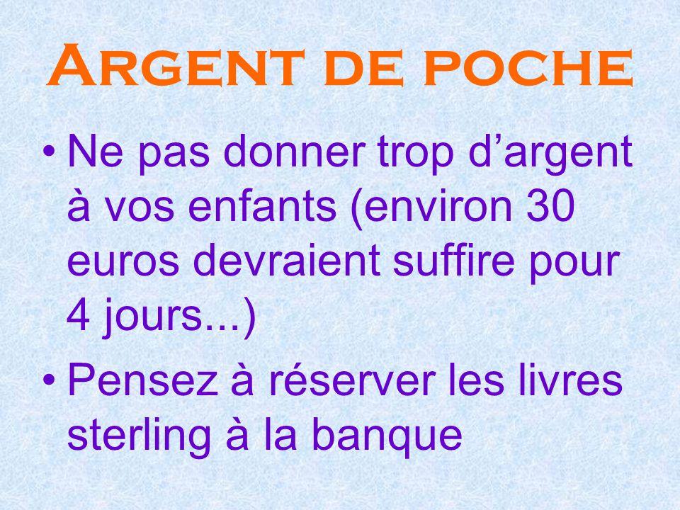 Argent de poche Ne pas donner trop dargent à vos enfants (environ 30 euros devraient suffire pour 4 jours...) Pensez à réserver les livres sterling à la banque