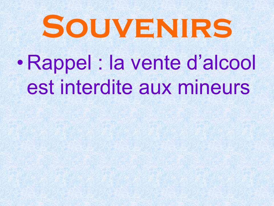 Souvenirs Rappel : la vente dalcool est interdite aux mineurs