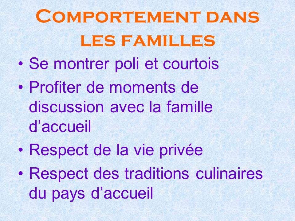 Comportement dans les familles Se montrer poli et courtois Profiter de moments de discussion avec la famille daccueil Respect de la vie privée Respect