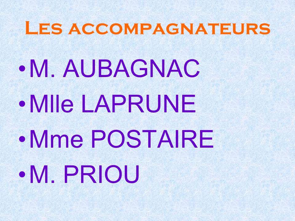 Les accompagnateurs M. AUBAGNAC Mlle LAPRUNE Mme POSTAIRE M. PRIOU