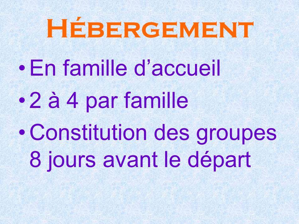Hébergement En famille daccueil 2 à 4 par famille Constitution des groupes 8 jours avant le départ