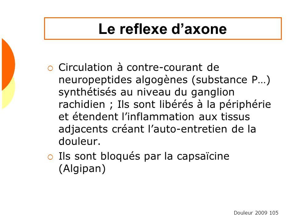 Douleur 2009 105 Le reflexe daxone Circulation à contre-courant de neuropeptides algogènes (substance P…) synthétisés au niveau du ganglion rachidien