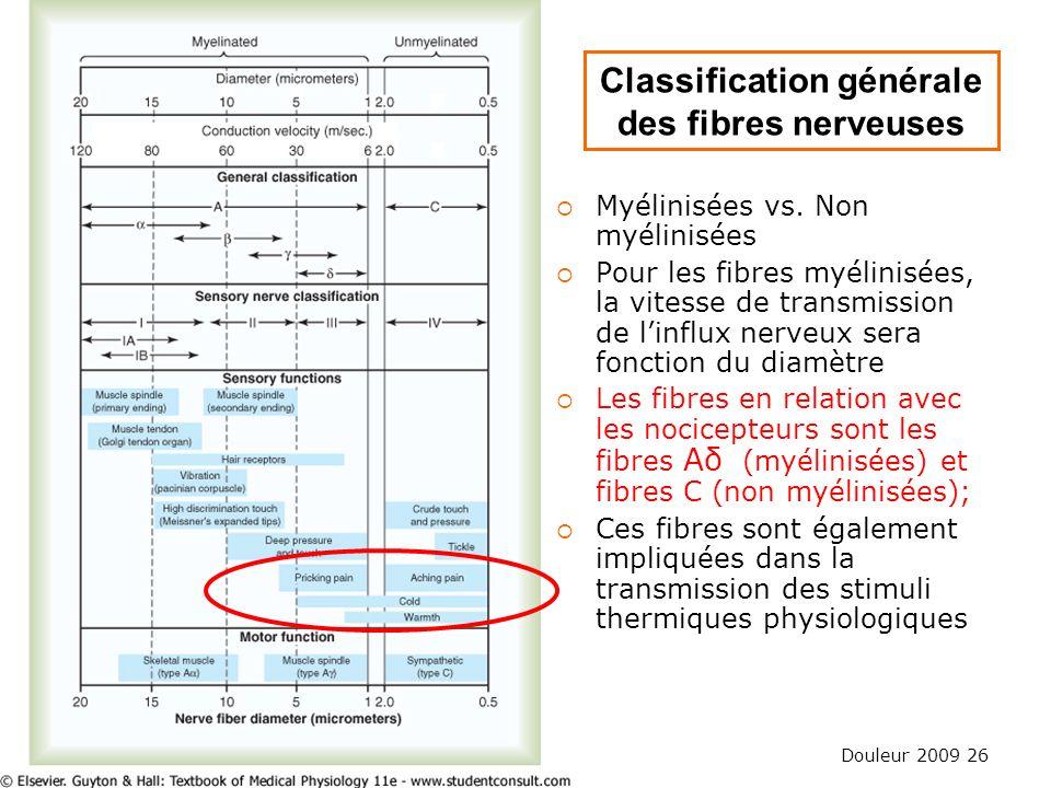 Douleur 2009 26 Classification générale des fibres nerveuses Myélinisées vs. Non myélinisées Pour les fibres myélinisées, la vitesse de transmission d