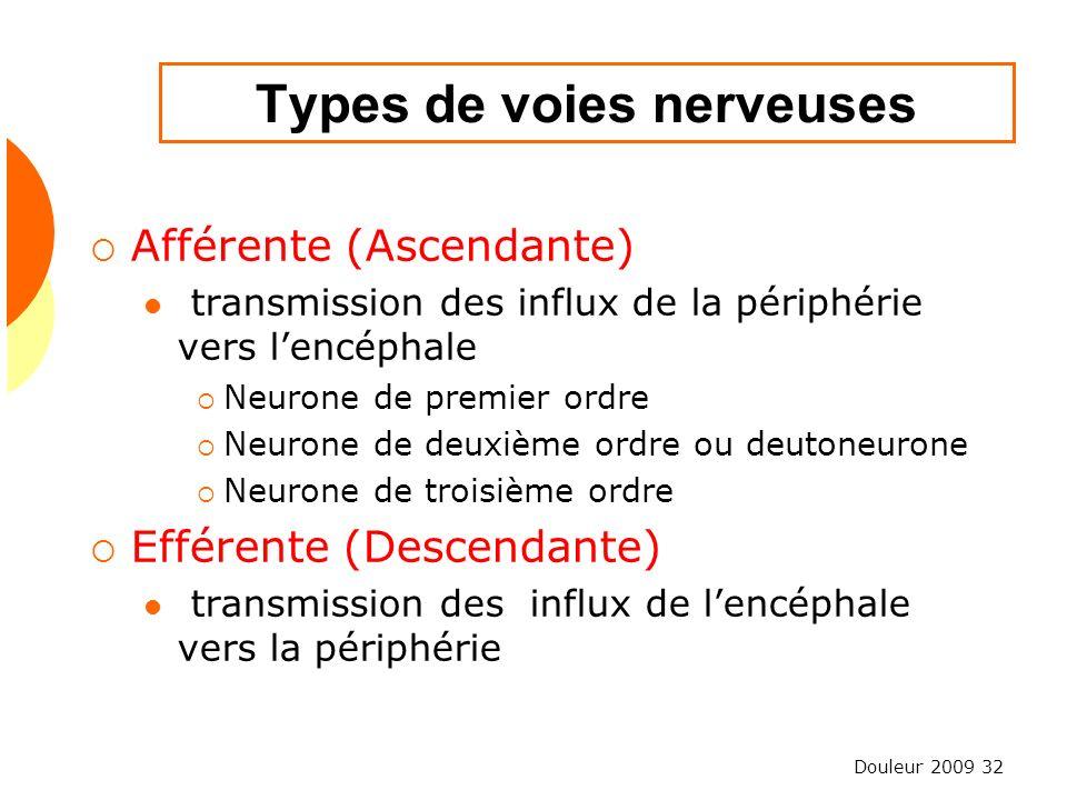 Douleur 2009 32 Types de voies nerveuses Afférente (Ascendante) transmission des influx de la périphérie vers lencéphale Neurone de premier ordre Neur