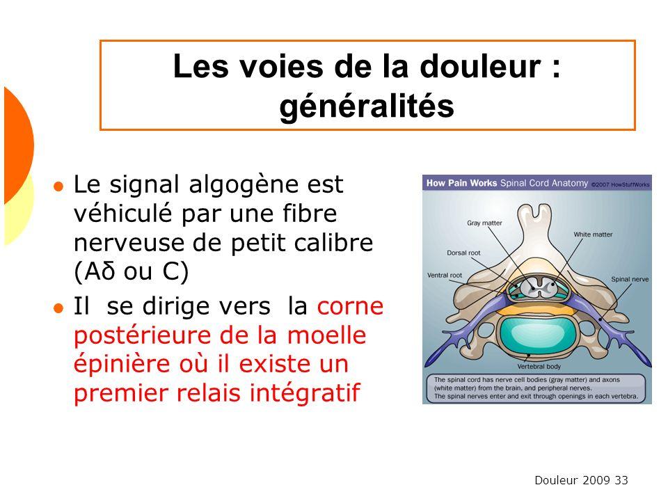 Douleur 2009 33 Les voies de la douleur : généralités Le signal algogène est véhiculé par une fibre nerveuse de petit calibre (Aδ ou C) Il se dirige v