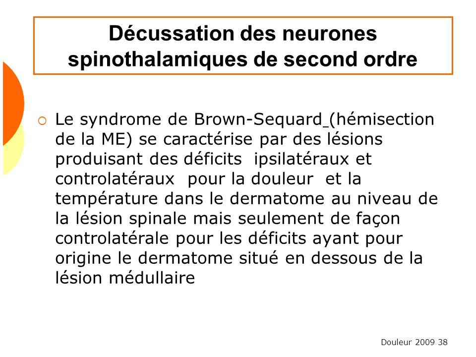 Douleur 2009 38 Décussation des neurones spinothalamiques de second ordre Le syndrome de Brown-Sequard (hémisection de la ME) se caractérise par des l
