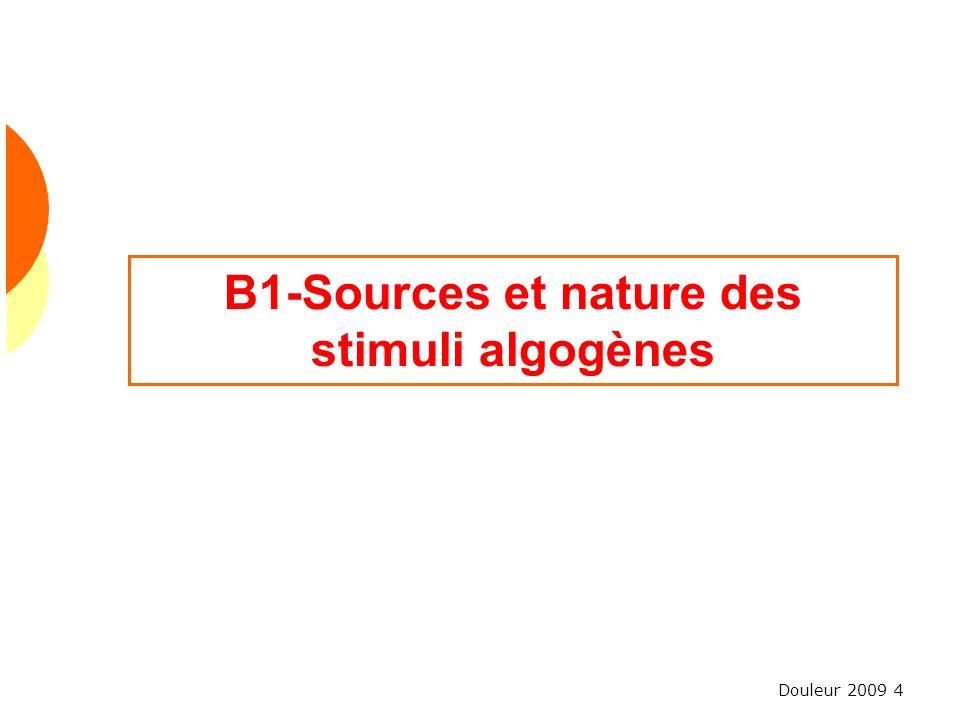 Douleur 2009 4 B1-Sources et nature des stimuli algogènes