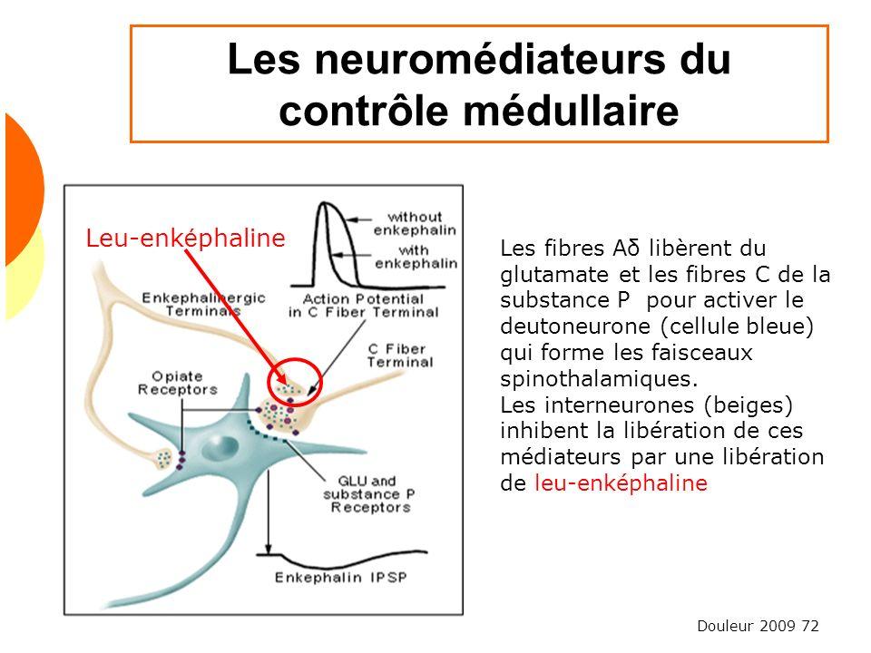 Douleur 2009 72 Les neuromédiateurs du contrôle médullaire Les fibres Aδ libèrent du glutamate et les fibres C de la substance P pour activer le deuto