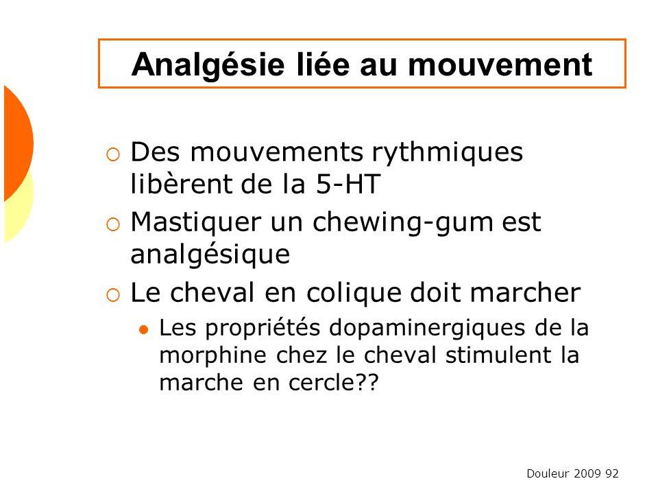 Douleur 2009 92 Analgésie liée au mouvement Des mouvements rythmiques libèrent de la 5-HT Mastiquer un chewing-gum est analgésique Le cheval en coliqu