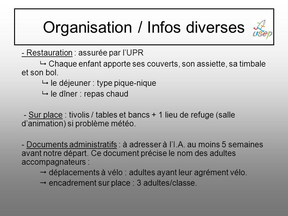 Organisation/infos diverses - Participation financière : 40 /participant (enfant et adulte) (restauration/hébergement/animation) coopérative scolaire : 10 /enfant et 20 /accompagnateur.