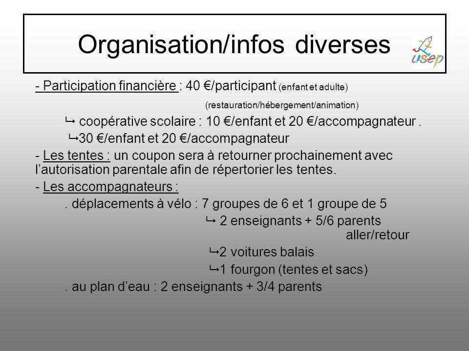 Organisation/infos diverses - Participation financière : 40 /participant (enfant et adulte) (restauration/hébergement/animation) coopérative scolaire