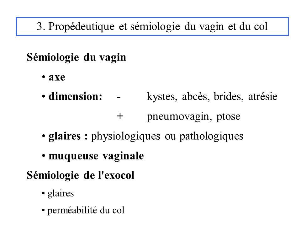 3. Propédeutique et sémiologie du vagin et du col Sémiologie du vagin axe dimension: - kystes, abcès, brides, atrésie +pneumovagin, ptose glaires : ph