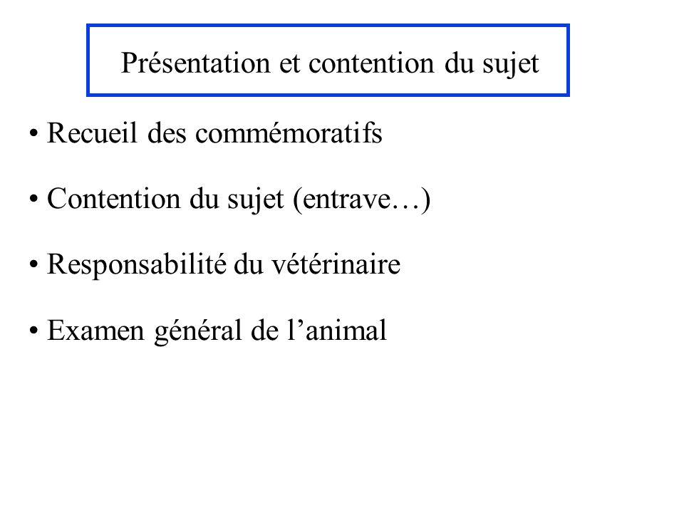 Présentation et contention du sujet Recueil des commémoratifs Contention du sujet (entrave…) Responsabilité du vétérinaire Examen général de lanimal