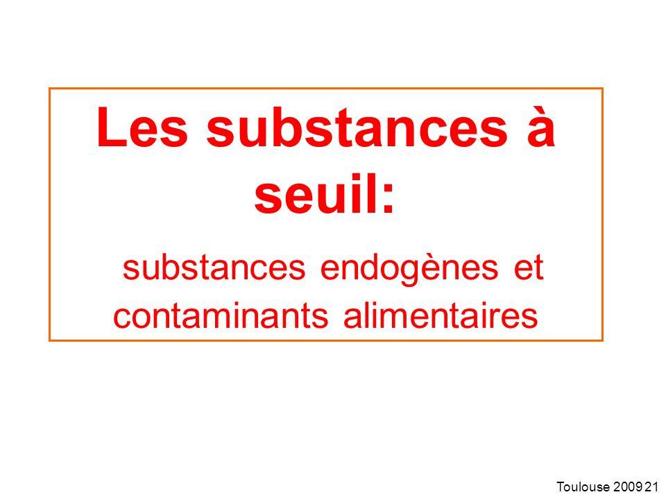 Toulouse 2009 21 Les substances à seuil: substances endogènes et contaminants alimentaires