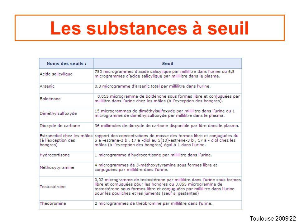 Toulouse 2009 22 Les substances à seuil