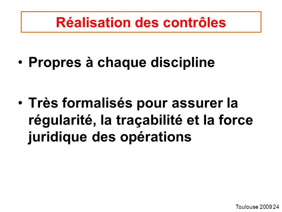 Toulouse 2009 24 Réalisation des contrôles Propres à chaque discipline Très formalisés pour assurer la régularité, la traçabilité et la force juridique des opérations