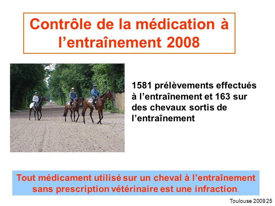 Toulouse 2009 25 Contrôle de la médication à lentraînement 2008 1581 prélèvements effectués à lentraînement et 163 sur des chevaux sortis de lentraînement Tout médicament utilisé sur un cheval à lentraînement sans prescription vétérinaire est une infraction.