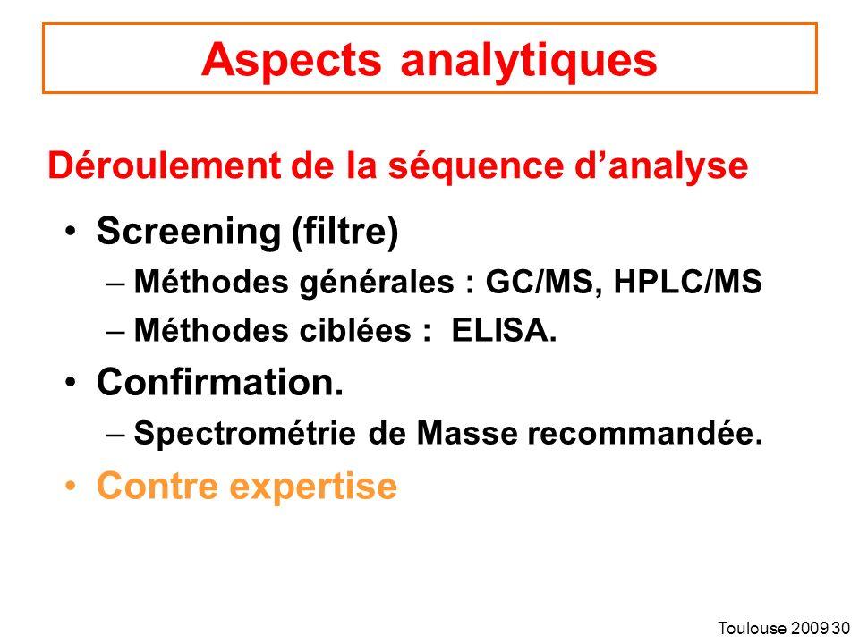 Toulouse 2009 30 Aspects analytiques Screening (filtre) –Méthodes générales : GC/MS, HPLC/MS –Méthodes ciblées : ELISA.