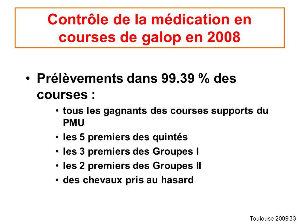 Toulouse 2009 33 Contrôle de la médication en courses de galop en 2008 Prélèvements dans 99.39 % des courses : tous les gagnants des courses supports du PMU les 5 premiers des quintés les 3 premiers des Groupes I les 2 premiers des Groupes II des chevaux pris au hasard