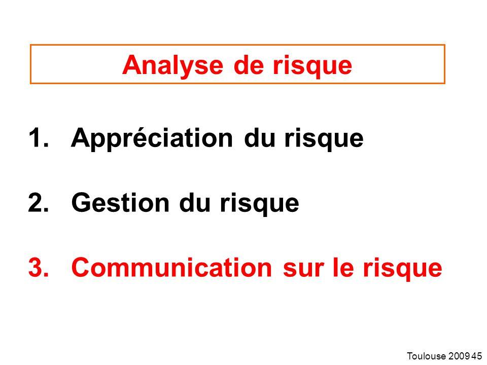 Toulouse 2009 45 Analyse de risque 1.Appréciation du risque 2.Gestion du risque 3.Communication sur le risque
