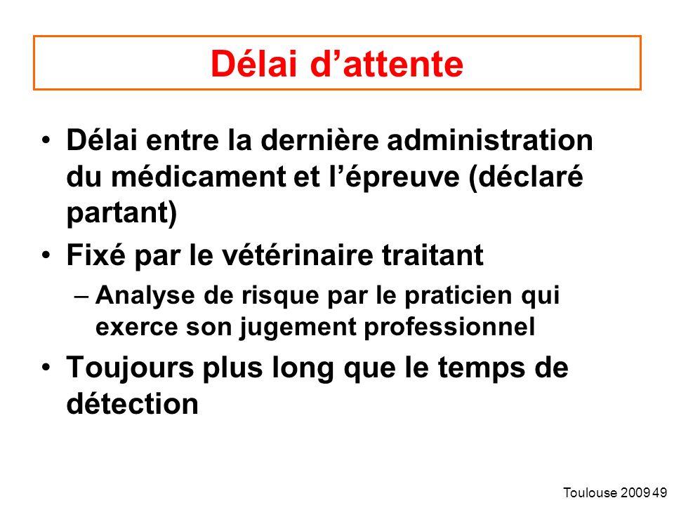 Toulouse 2009 49 Délai dattente Délai entre la dernière administration du médicament et lépreuve (déclaré partant) Fixé par le vétérinaire traitant –Analyse de risque par le praticien qui exerce son jugement professionnel Toujours plus long que le temps de détection
