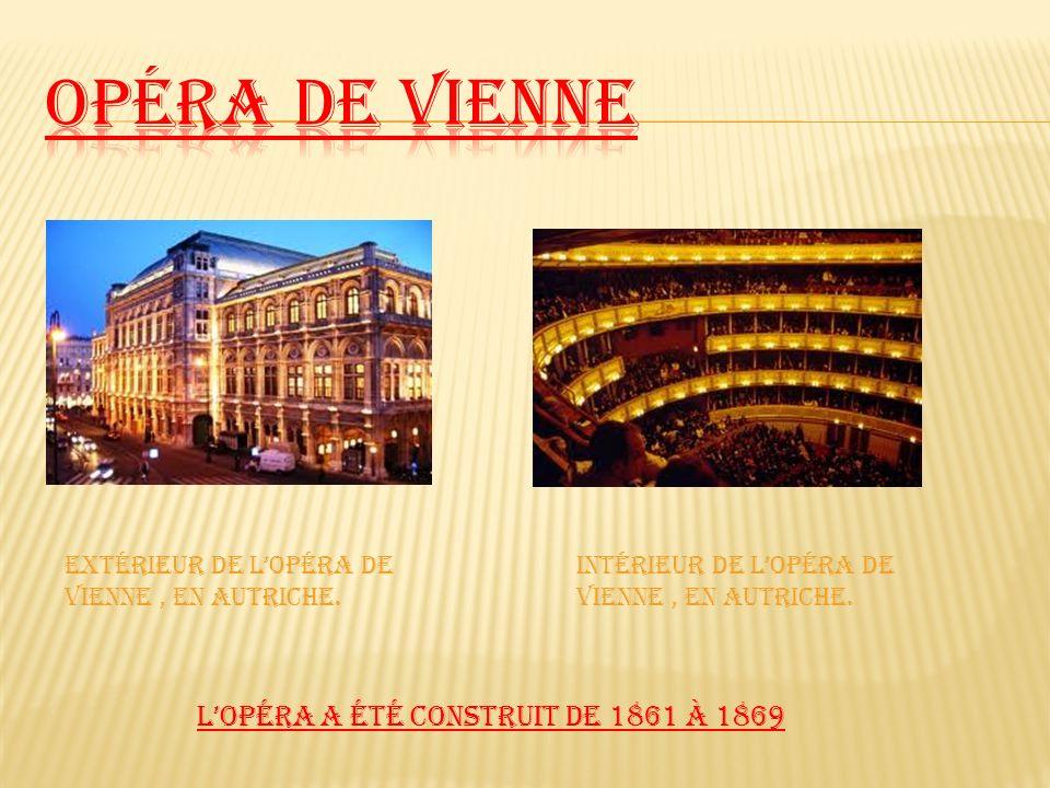 LOpéra a été construit de 1861 à 1869 Extérieur de Lopéra de Vienne, en Autriche. Intérieur de Lopéra de Vienne, en Autriche.