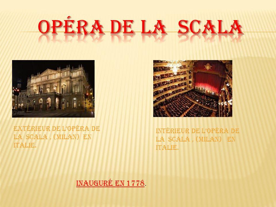 Extérieur de lopéra de la scala, (milan) en Italie. Intérieur de lopéra de la Scala, (milan) en Italie. Inauguré en 1778.