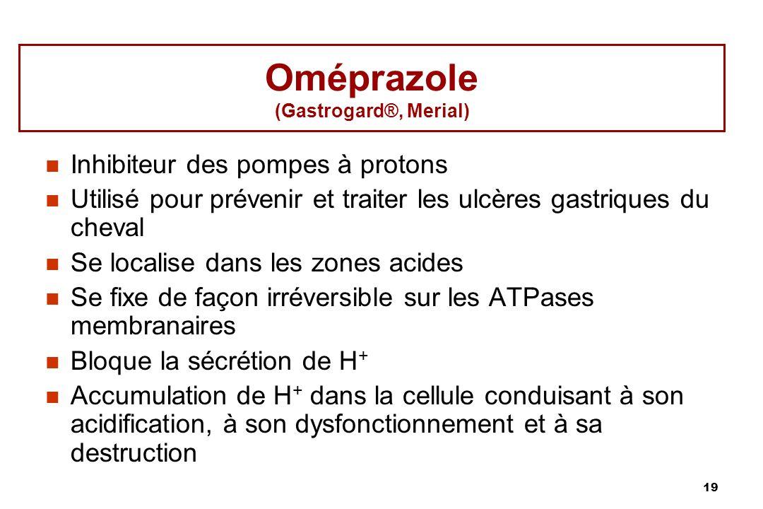 19 Oméprazole (Gastrogard®, Merial) Inhibiteur des pompes à protons Utilisé pour prévenir et traiter les ulcères gastriques du cheval Se localise dans