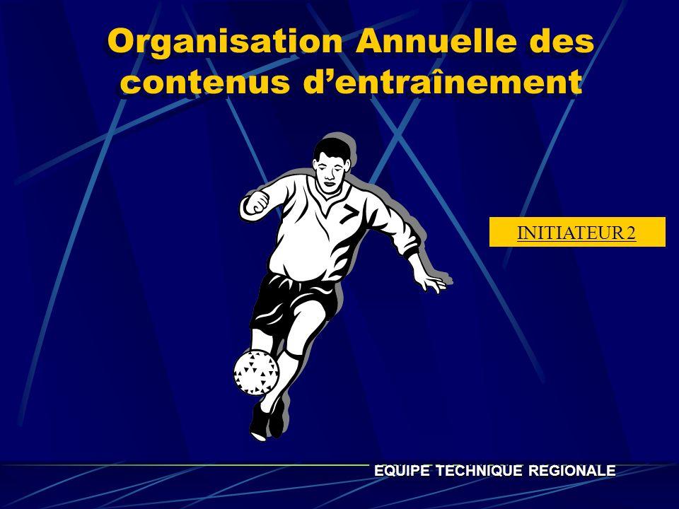 Organisation Annuelle des contenus dentraînement EQUIPE TECHNIQUE REGIONALE INITIATEUR 2